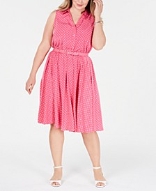 Plus Size Belted Polka-Dot Dress, Created for Macy's