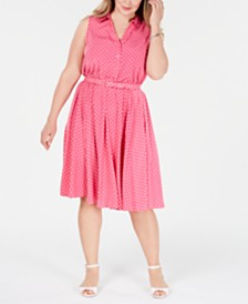 Charter Club Plus Size Belted Polka-Dot Dress, Created for Macy's