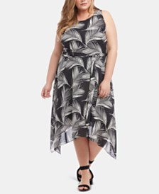 Karen Kane Plus Size Printed Handkerchief-Hem Dress