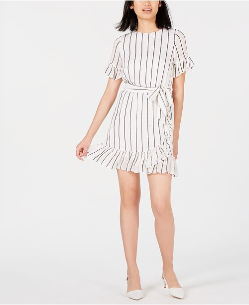Maison Jules Striped Ruffled Wrap Dress, Created for Macy's