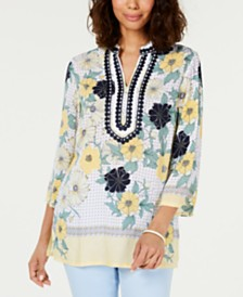 Charter Club Printed Embroidered Split-Neck Tunic, Created for Macy's