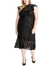 RACHEL Rachel Roy Ruffle Flounce Hem Lace Midi Dress