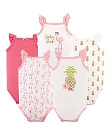 Hudson Baby Unisex Baby Sleeveless Cotton Bodysuits, Pineappple, 5-Pack, 18-24 Months