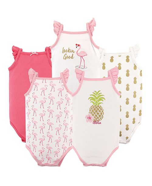 Hudson Baby Unisex Baby Sleeveless Cotton Bodysuits, Pineappple, 5-Pack, 18-24 Months