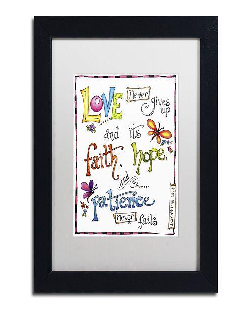 "Trademark Global Jennifer Nilsson Words of Love - Never Fails Matted Framed Art - 16"" x 20"" x 0.5"""