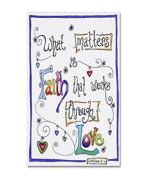 "Trademark Global Jennifer Nilsson Words of Faith - Through Love Canvas Art - 18"" x 24"" x 2"""