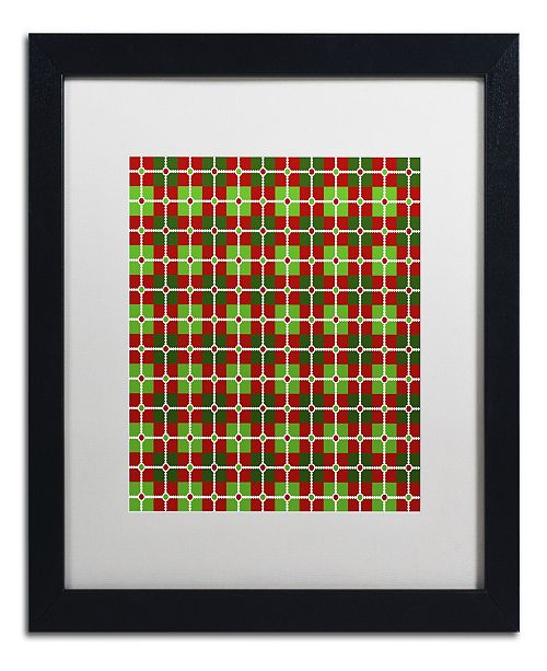 "Trademark Global Jennifer Nilsson Dotted Christmas Plaid 2 Matted Framed Art - 14"" x 14"" x 2"""