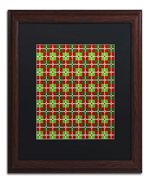 "Trademark Global Jennifer Nilsson Dotted Christmas Plaid 2 Matted Framed Art - 16"" x 16"" x 0.5"""