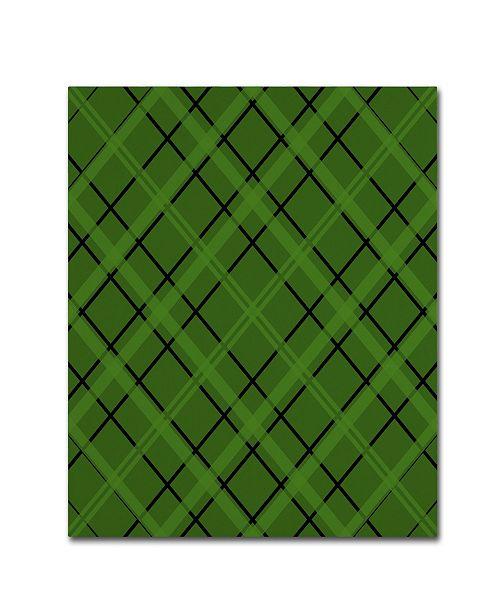 "Trademark Global Jennifer Nilsson Green Diamond Plaid 2 Canvas Art - 35"" x 47"" x 2"""
