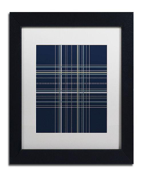"Trademark Global Jennifer Nilsson Dashed Line Dark Blue Matted Framed Art - 14"" x 19"" x 2"""