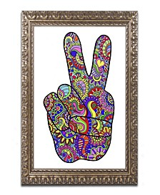 """Kathy G. Ahrens Psychedelic Mehndi Peace Sign Ornate Framed Art - 16"""" x 20"""" x 0.5"""""""