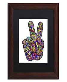 """Kathy G. Ahrens Psychedelic Mehndi Peace Sign Matted Framed Art - 18"""" x 18"""" x 2"""""""