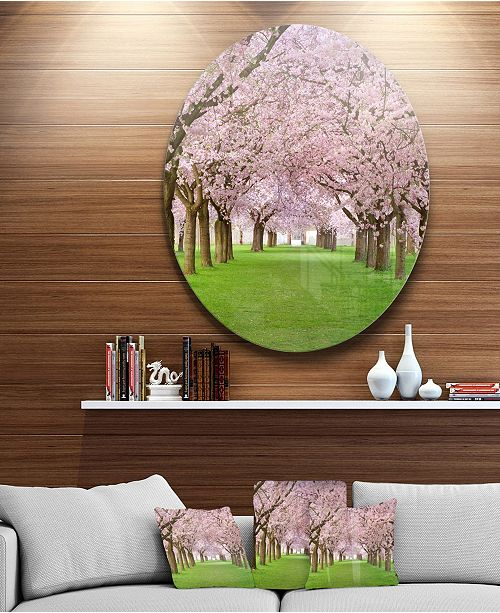 "Design Art Designart 'Stunning Cherry Blossoms Plenitude' Landscape Metal Circle Wall Art - 38"" x 38"""