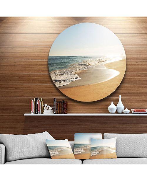 "Design Art Designart 'Wide Seashore With Crystal Waters' Beach Metal Circle Wall Art - 38"" x 38"""