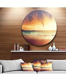 """Designart 'Palm Leaves On Caribbean Seashore' Seashore Metal Circle Wall Art - 38"""" x 38"""""""