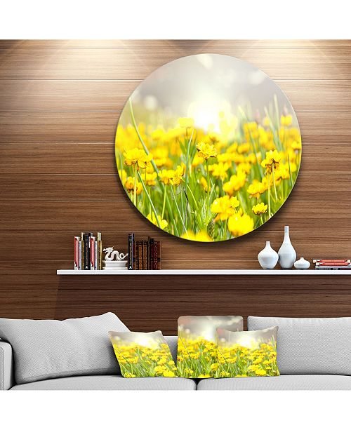 """Design Art Designart 'Sunny Meadow With Yellow Flowers' Floral Oversized Metal Circle Wall Art - 38"""" x 38"""""""