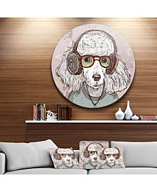 """Designart 'Funny Hipster Poodle With Glasses' Disc Contemporary Animal Metal Circle Wall Decor - 23"""" x 23"""""""