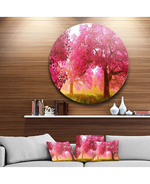 "Design Art Designart 'Mysterious Red Cherry Blossoms' Disc Large Landscape Metal Circle Wall Art - 38"" x 38"""