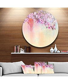 """Designart 'Watercolor Painting Cherry Blossoms' Disc Floral Metal Circle Wall Art - 23"""" x 23"""""""