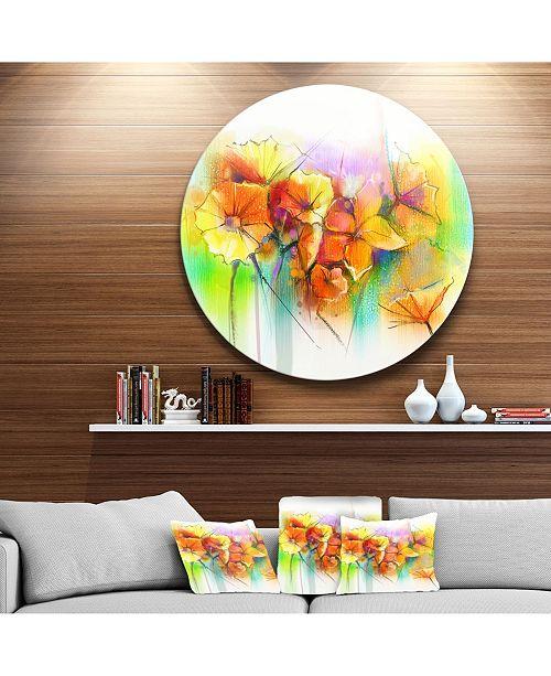 "Design Art Designart 'Bright Yellow Gerbera And Daisies' Large Floral Metal Circle Wall Art - 38"" x 38"""