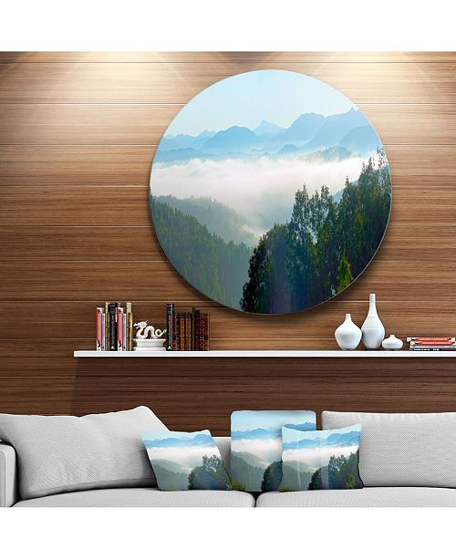 "Design Art Designart 'Morning In Blue Ridge Parkway' Landscape Circle Metal Wall Art - 23"" x 23"""