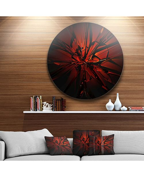 "Design Art Designart 'Beautiful Red 3D Crystal Design' Abstract Round Circle Metal Wall Art - 23"" x 23"""
