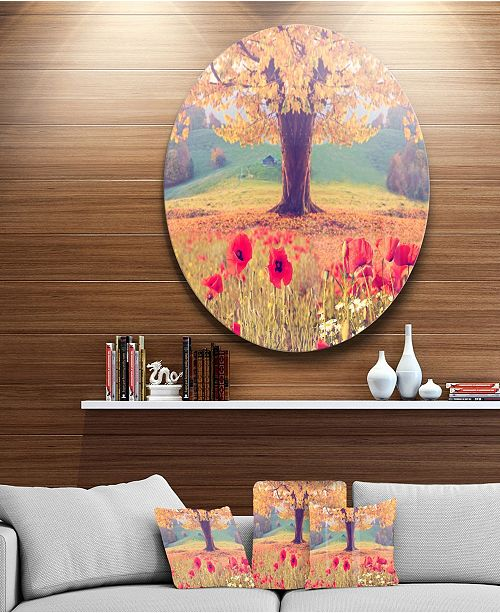 "Design Art Designart 'Landscape With Poppy Flowers' Disc Photography Circle Metal Wall Art - 23"" x 23"""