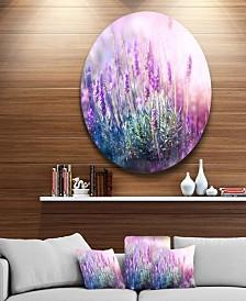 "Designart 'Growing And Blooming Lavender' Floral Circle Metal Wall Art - 23"" x 23"""