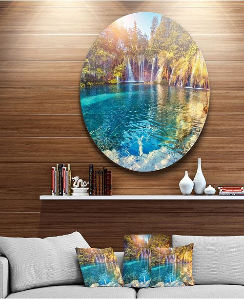 "Design Art Designart 'Turquoise Water And Sunny Beams' Landscape Photography Circle Metal Wall Art - 23"" x 23"""