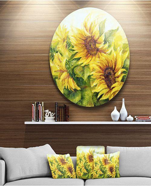 "Design Art Designart 'Bright Yellow Sunny Sunflowers' Floral Metal Artwork - 38"" x 38"""