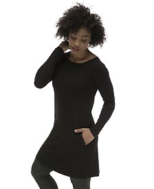 YALA Mia Long Sleeve Boat Neck Viscose from Bamboo A-line Dress with Pockets