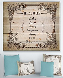 "Design Art 'House Rules. Vintage Frame' Wood Wall Art - 40"" x 30"""