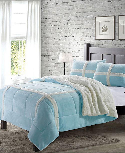 De Moocci Dalton Queen Sherpa 3 Piece Comforter Set