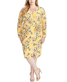 RACHEL Rachel Roy Trendy Plus Size Floral Tie Waist Dress