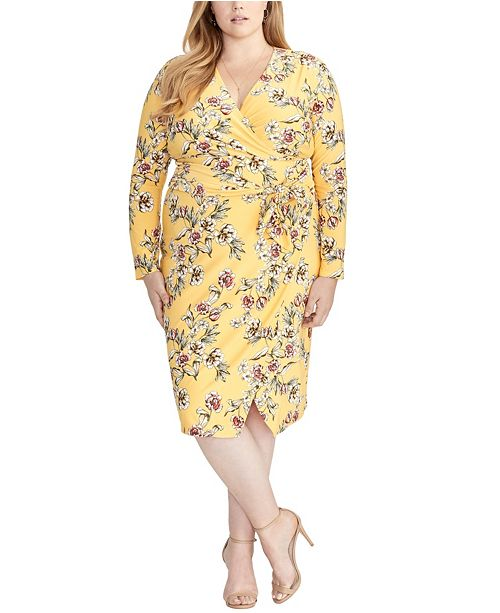 RACHEL Rachel Roy Trendy Plus Size Floral Tie Waist Dress
