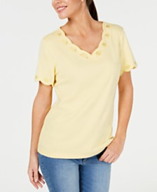 Karen Scott Cotton Embroidered Scalloped T-Shirt, Created for Macy's