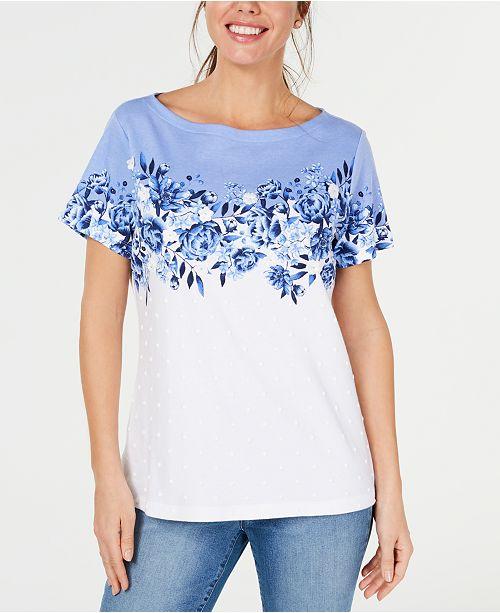 Karen Scott Floral-Print Appliqué Boat-Neck T-Shirt, Created for Macy's