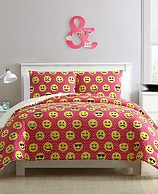 Facey Emoji Reversible 4-Piece Comforter Set - Full/Queen