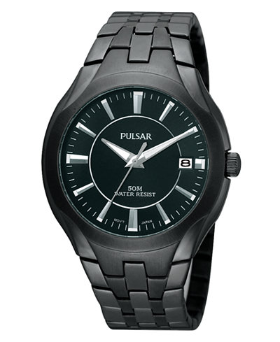 Pulsar Watch Men S Black Ion Plated Stainless Steel