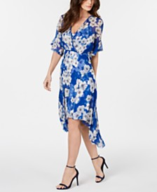 Elie Tahari Flutter-Sleeve Printed Silk Dress
