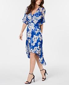 Elie Tahari Flutter-Sleeve Printed Silk Dress