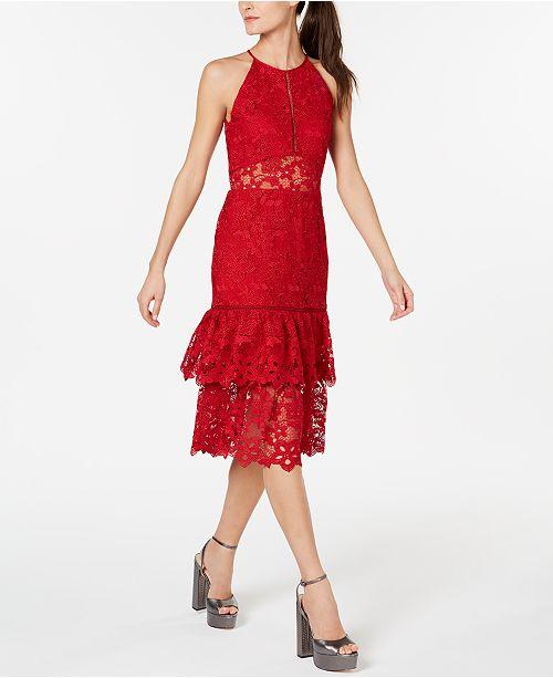 Rachel Zoe Tiered Lace Halter Dress