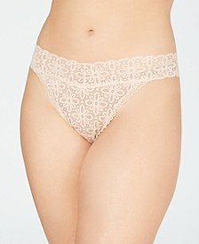 Plus Size One Size Lace Thong Underwear, Created for Macy's