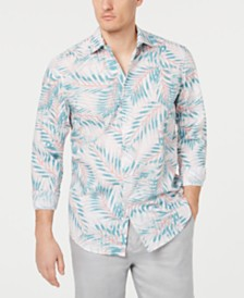 Tasso Elba Men's Palm Print Shirt, Created for Macy's