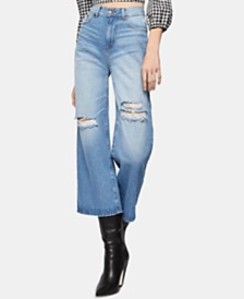BCBGeneration Distressed Cropped Wide-Leg Jeans
