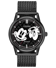 Eco-Drive Unisex Mickey Mouse Black Mesh Bracelet Watch 40mm