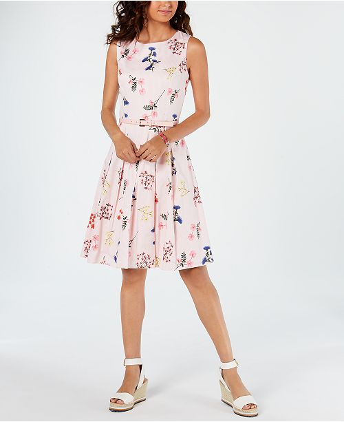 c5552b7e1179 Tommy Hilfiger Belted Floral Striped Fit & Flare Dress, Created for Macy's