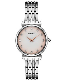 Seiko Women's Crystals Stainless Steel Bracelet Watch 29.6mm