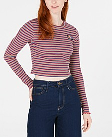 Striped Rib-Knit Cropped Top