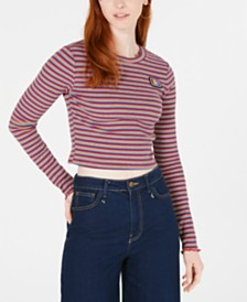 Juicy Couture Striped Rib-Knit Cropped Top